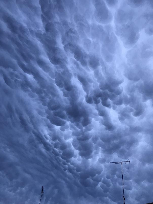 写真は、組合の特派員が撮影した/珍しい雲です。なんかの前兆?///熱中症には気を付けて!!/