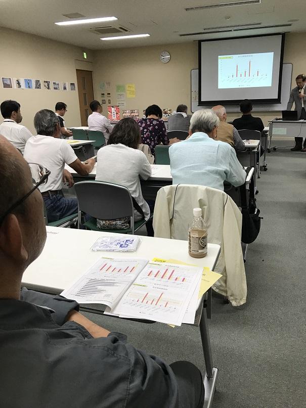 9月28日(金)武蔵村山市民総合センターにおいて//安全大会が開催されました。参加者は25名。//講師は東京労働安全衛生センターの仲尾豊樹氏を招き//『現場の安全衛生に大事な視点=「よい事例」から学ぶ//をテーマにリスクアセスメントについて//みんなで良いところを探す学習を行いました。//