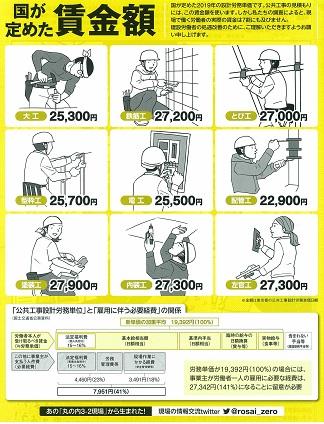 建設業に従事する皆さん!//いま、東京土建では「組合員を増やす月間」をおこなっています。/組合員になっていない職人の皆さんは自分の悩んでいることを/相談できる組合に入りませんか。/組合員の皆さんの周りの仲間に未加入の職人さんはいませんか。/ /現場改善、現場労働者の賃金アップで建設業をより良い業界にしましょう!
